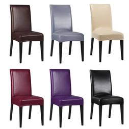 1/2/4/6X Faux Leather Dining Chair Seat Covers Stretch Slipc