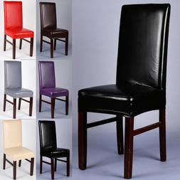 1/4/6PCS Dining Chair Covers PU Leather Stretch Slipcover Di