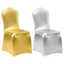 1/6/10x Metallic Gold Silver Spandex Stretch Chair Covers We