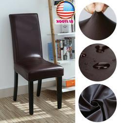 1-8pcs Home Chair Cover PU Leather Kitchen Bar Hotel Restaur