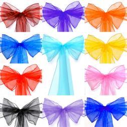10 20 50 100 200 Organza Sashes Chair Cover Bows Sash Ribbon