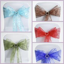 50 New Embroidered on Sheer Organza Chair Sash Bows Ties Wed