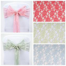 10 Wedding LACE CHAIR SASHES Bows Ties Party Reception Decor