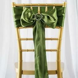10 Willow Green Satin CHAIR SASHES Ties Bows Wedding Recepti