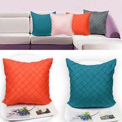 1x Simple Style Faux Suede Plaid Pillowcase 45x45cm Chair Th