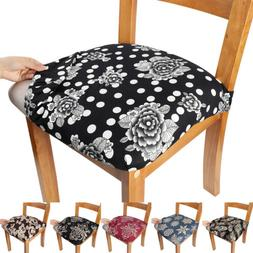2/4/6pcs Stretch Printed Dining Chair Seat Cover Removable S