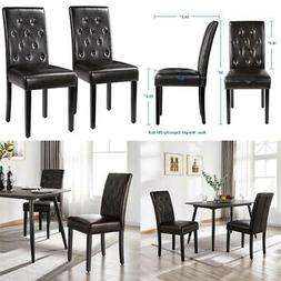 2 Pack Dining Chair Armless Upholstered Brown Leather Backre