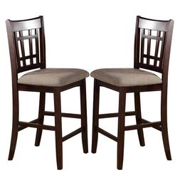 """2 pc - Dark Rosy Brown Wood Dining Counter Height High 24""""H"""