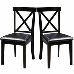 2 Pcs Leather Wood Dining Chair Dining Room Side Chair Kitch