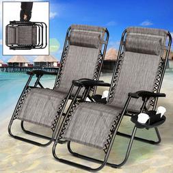2 PCS Zero Gravity Chairs Folding Lounge Patio Beach Chairs