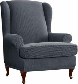 Subrtex Elastic Chair Cover Wing Back Arm Chair Sofa Slipcov