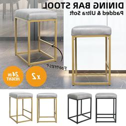 """24"""" Faux Leather Padded Seat Dining Pub Bar Stools Chairs Se"""