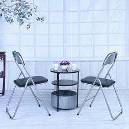 Set of 2 Folding Chairs Fabric Upholstered Padded Seat Metal