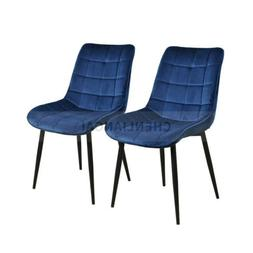 2pcs Dining Chair with Metal Legs Velvet Cushion Seat Back L