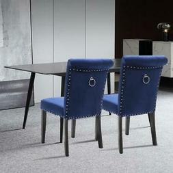 2Pcs Kitchen Dining Chairs Velvet Tufted Upholstered Solid W