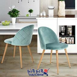 2x Dining Chair Kitchen Room Green Velvet Fabric Mid Century