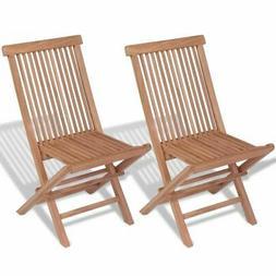 vidaXL 2x Patio Teak Folding Chairs Wood Outdoor Bistro Gard