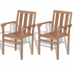 vidaXL 2x Solid Teak Wood Outdoor Chairs Patio Outdoor Garde