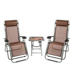 3 PCS Adjustable Zero Gravity Chair Patio Chaise Lounge Chai