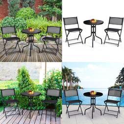 Giantex 3 Pcs Bistro Set Garden Backyard Round Table Folding