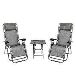 3 PCS Zero Gravity Chair Patio Chaise Lounge Chairs Table Ch