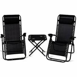3 PCS Zero Gravity Chair Patio Chaise Lounge Chairs Outdoor