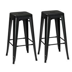 30'' Bar Height Stool Indoor Outdoor Square Seat Top Metal C