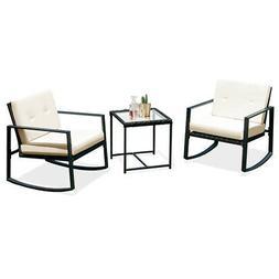 3PCS Rattan Wicker Rocking Chair Bistro Furniture Set Patio