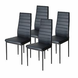 4 pcs Black Dining Chairs Modern Metal Frame Dining Room Kit