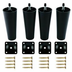 4 pcs universal black plastic furniture legs