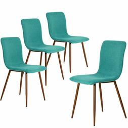 4 piece dining chair kitchen fabric with sturdy metal legs f