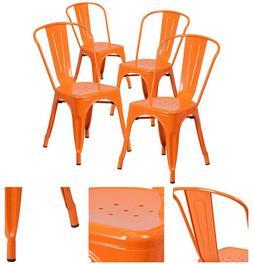 Flash Furniture 4 Pk.Orange Metal Indoor/ Outdoor Stackable