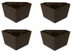 4 Universal Dark Brown Triangle Legs Feet Plastic Furniture