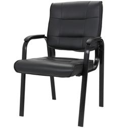 Black Leather Guest Chair Reception Waiting Room Office Desk