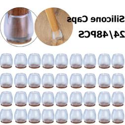 48 Pack Chair Leg Caps Silicone Feet Table Covers Protectors