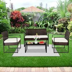 4PC PE Rattan Outdoor Patio Furniture Set Garden Lawn Sofa W