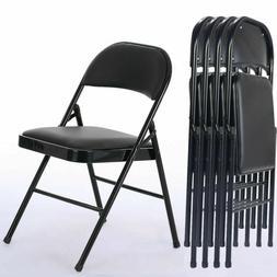 4pcs black folding chairs fabric upholstered padded