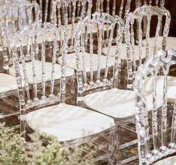 4Pcs Crystal Clear Wedding Stacking Chiavari Transparent Din