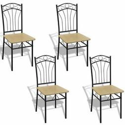 vidaXL 4x Dining Chairs Light Brown Metal Kitchen Dining Roo