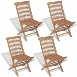 vidaXL 4x Solid Teak Wood Outdoor Folding Chairs Brown Seat