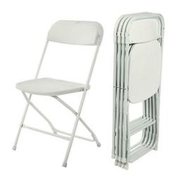 5 commercial white plastic folding chairs stackable