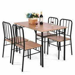 Giantex 5 Piece Dining Set Table and 4 Chairs Metal Wood Hom