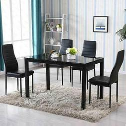 5 Piece Dining Table Set 4 Chair Glass Metal Kitchen Room Br