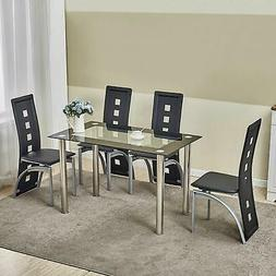 5 Piece Glass Dining Table Set 4 Chairs Room Kitchen Breakfa