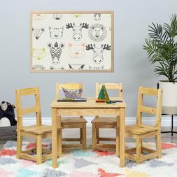 5-Piece Kids Wooden Play Furniture Set Table Chairs Natural