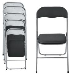 1-6PACK Folding Chair PU leather Upholstered Padded Seat Met