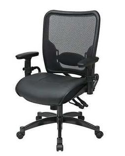 """OFFICE STAR 6876 Manager Chair,Leather,Blk,18-22"""" Seat Ht"""