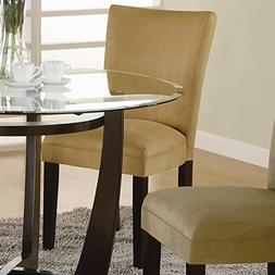 Bloomfield Microfiber Parson Side Chairs Cappuccino and Gold