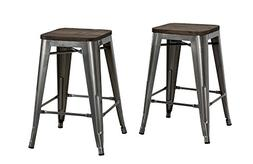 """DHP Fusion Metal Backless Counter Stool with Wood Seat , 24"""""""