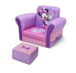 Delta Children Upholstered Chair with Ottoman, Disney Minnie